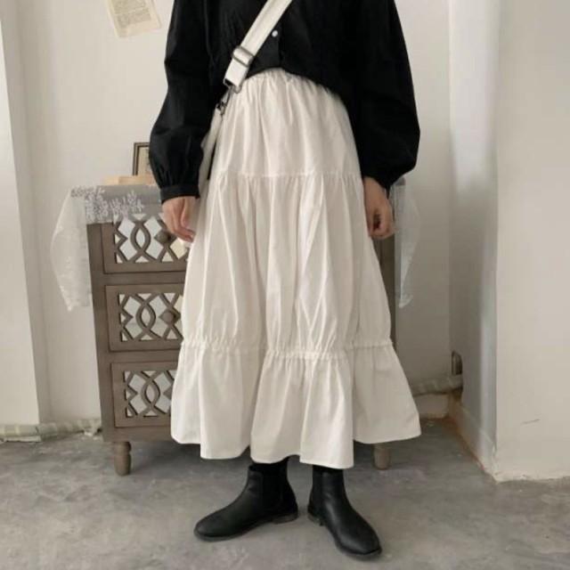 【残り1着!】即日発送 ティアードスカート 裾フレア  ロング ホワイト C0045