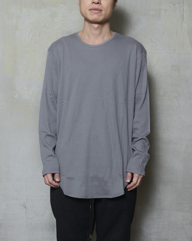 T/f loose fit rib long sleeve top - dark soot