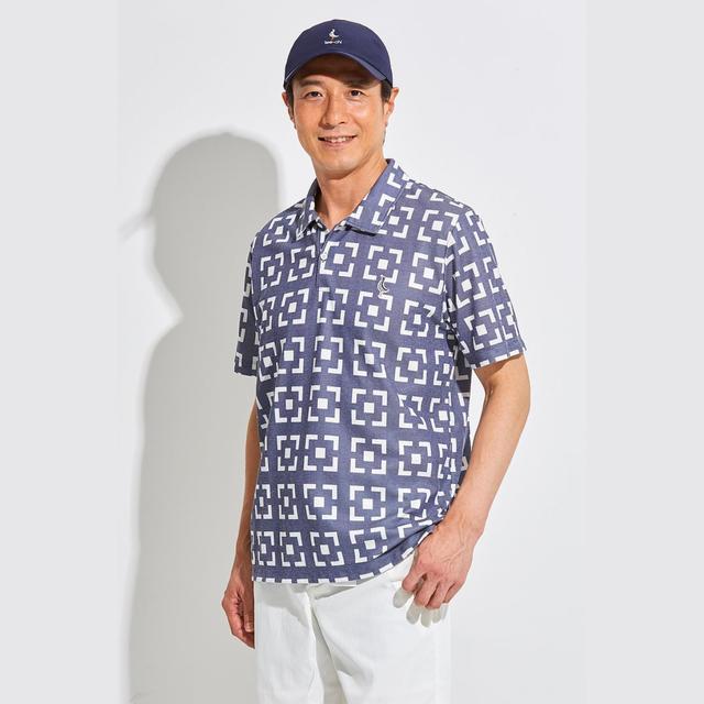 Tee-chi メンズ サンゴクロスポロシャツ<花ブロックスクエア><BLUE>