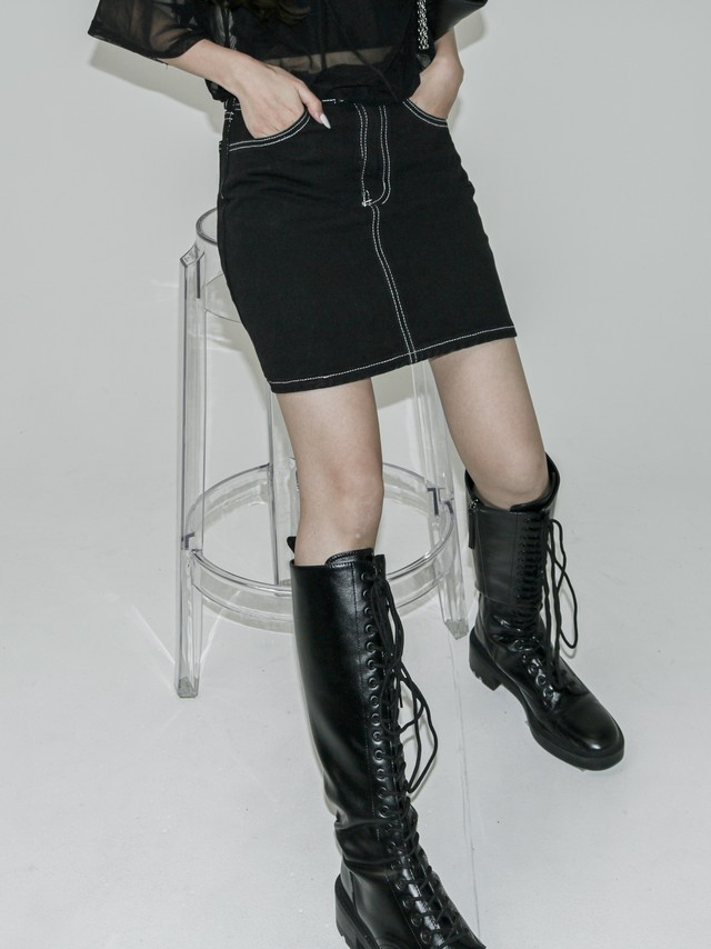 【WOMENS - 3 Size】STITCH DENIM MINISKIRT / 2colors