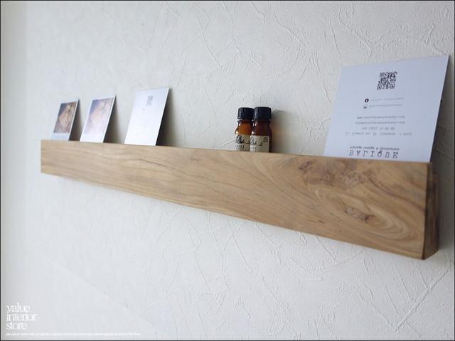 チーク総無垢 ウォールシェルフ角N88cm ウォールラック 壁掛収納用品 ナチュラル シンプル 天然木 収納棚 木製棚 手作り 真鍮金物 銘木