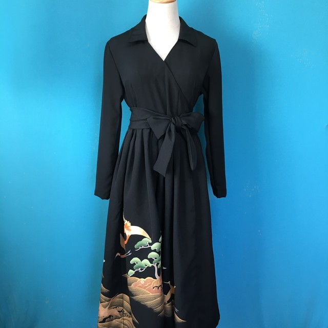 Vintage black kimono wrap dress/ US 8
