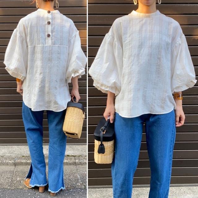 ◆即納ラスト1個◆スタンドカラー チェック柄ブラウス ふんわり袖 2S-071