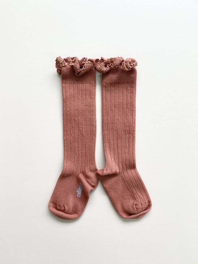 Collegien / Joséphine Lace-Trim Ribbed Knee-high Socks - Gingerbread