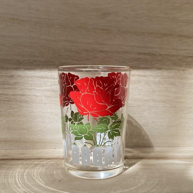 70年代 USA製 タンブラーグラス ヴィンテージグラス  レトログラス フラワー柄グラス ローズ柄グラス レッド