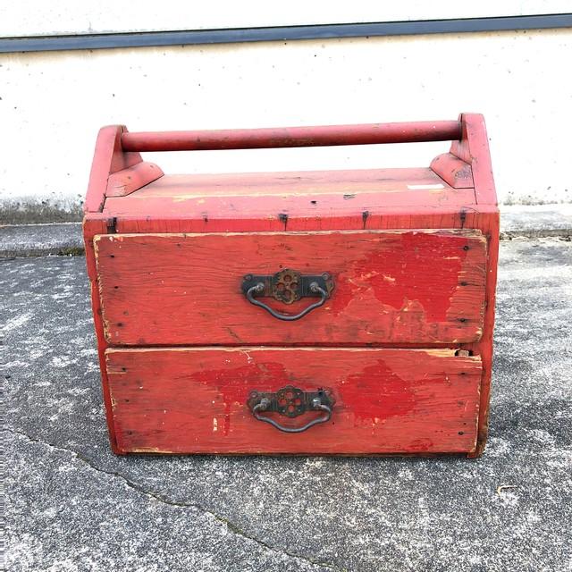 品番0721 工具箱 ツールボックス ケース 木製 レッド ヴィンテージ