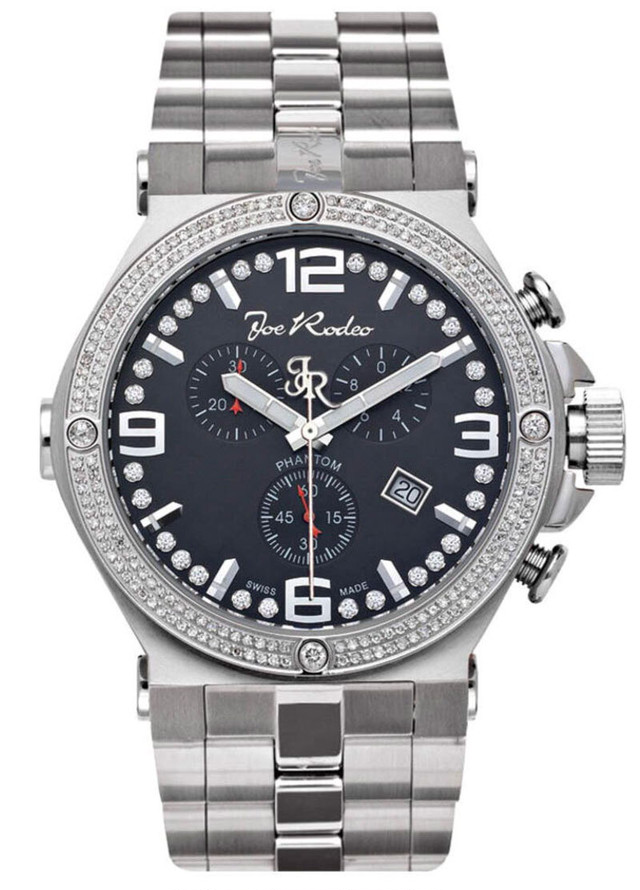 JOE RODEO PHANTOM MENS DIAMOND WATCH 2.25CT BLACK MOP