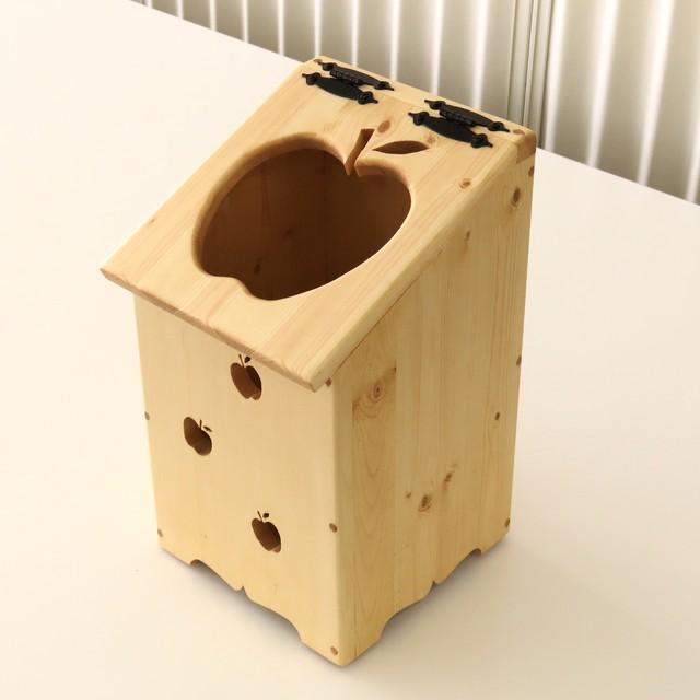 天然木の手づくりゴミ箱(りんご) 納期 ご注文後約1か月待ち