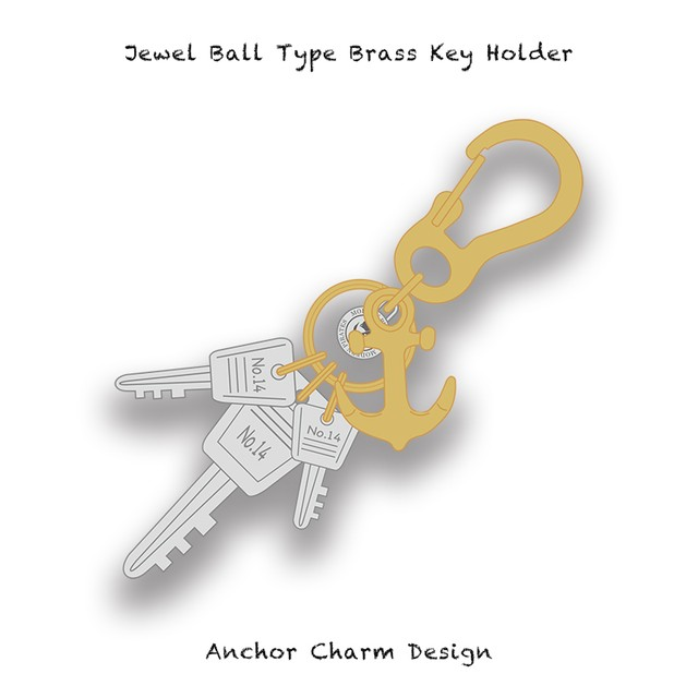 Jewel Ball Type Brass Key Holder / Anchor Charm Design