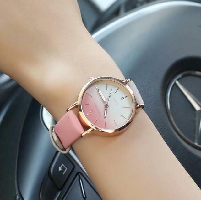 春色2色カラー レディース 腕時計 ピンク ホワイト 白 薄型レザー カジュアル 高級 クォーツ時計 ブレスレット 春色 春カラー Scarecrow-24