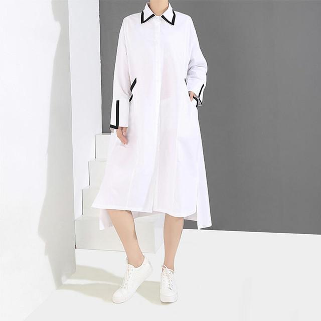 シンプル シャツワンピース 折り襟 長袖 オリジナルデザイン ロングワンピース  ホワイト ブラック