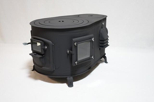 要納期確認 新保製作所 タマゴ型3面窓付薪ストーブ【FIRESIDE】