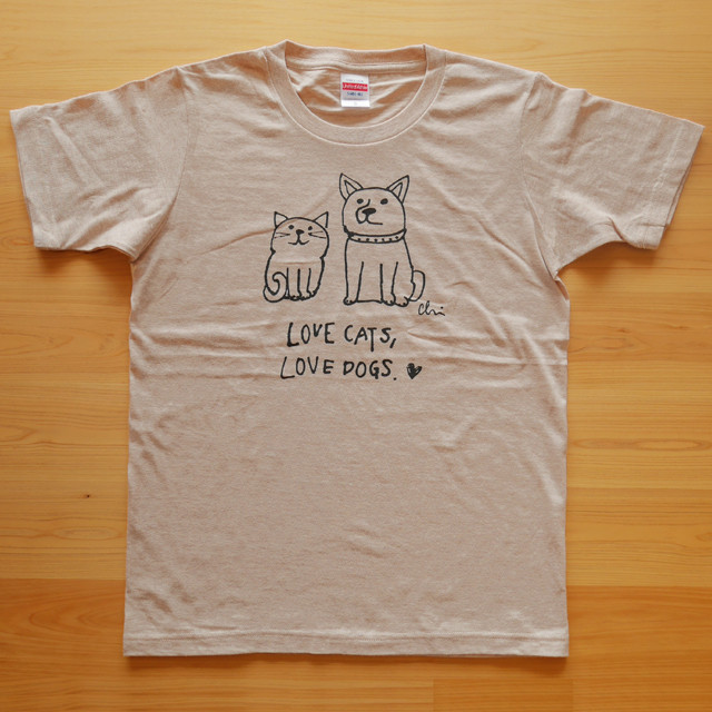 再入荷♪ Tシャツ「Love cats Love dogs 1」ヘザーベージュ
