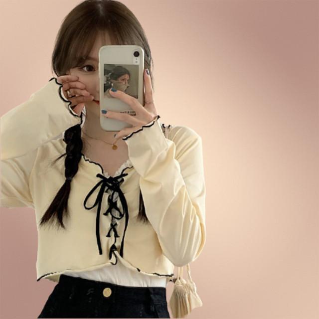 【トップス】INS風スウィート配色ボウタイ切り替えスリムVネックショート丈Tシャツ42298599