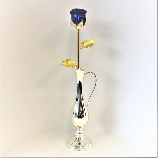 ガラスの薔薇(青)とチッペン一輪挿し(228)