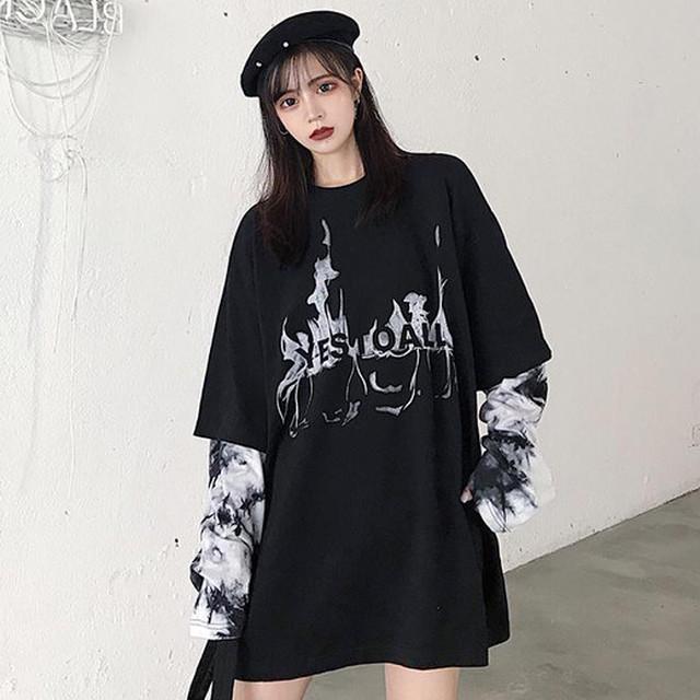 【トップス】ファッション切り替え韓国系配色プルオーバーTシャツ35375166