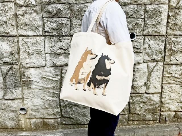 ビッグサイズな柴犬トートバッグ<赤柴&黒柴デザイン>