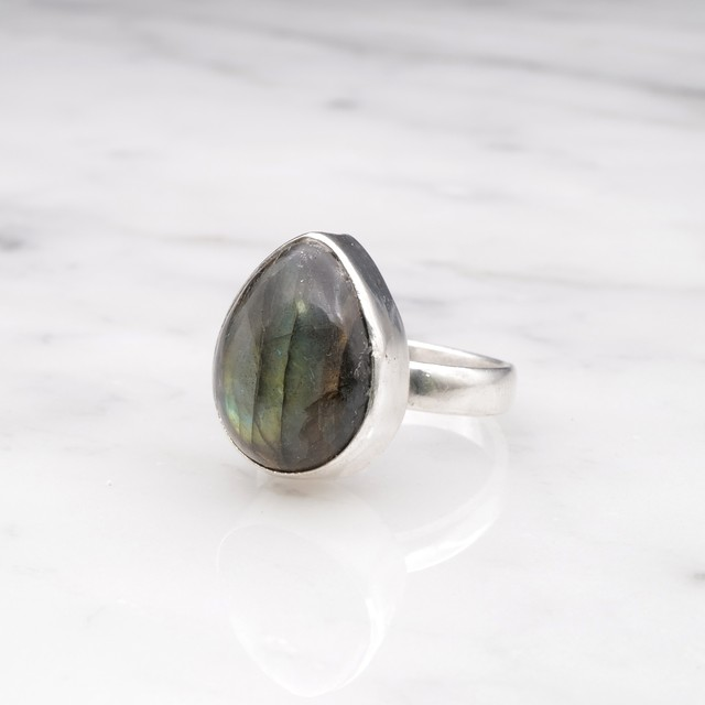 SINGLE BIG STONE RING SILVER 032