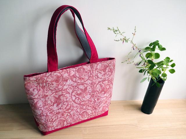 【KS様専用・受注制作】ピンクの花唐草と臙脂のふくれ織のミニトート