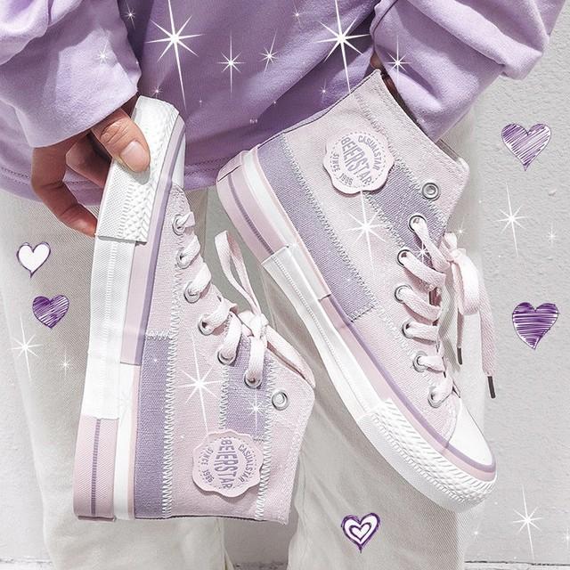 キャンバススニーカー ハイカット 22.5~25.0cm パープル スニーカー シューズ カジュアル かわいい 歩きやすい / High Top Fairy Trendy Canvas Shoes (DTC-617861690208)