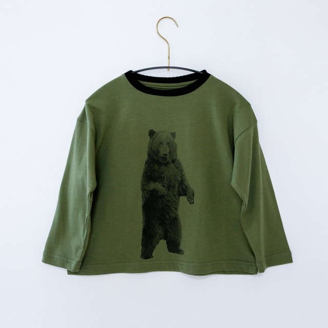 《michirico 2020AW》Bear longsleeveT / military green / S・M