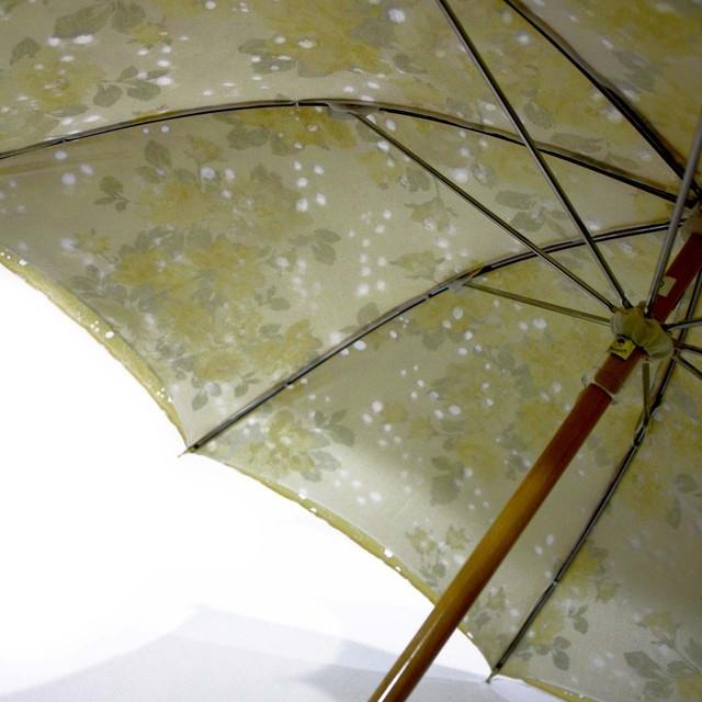 二重張り birdレース日傘 レモンホワイト×イエローローズ 43㎝