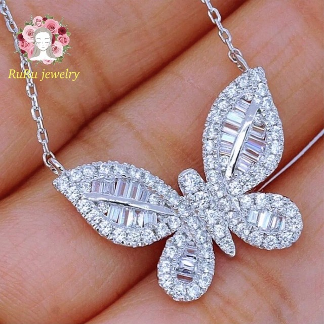 Butterfly sona diamond silver(necklace)