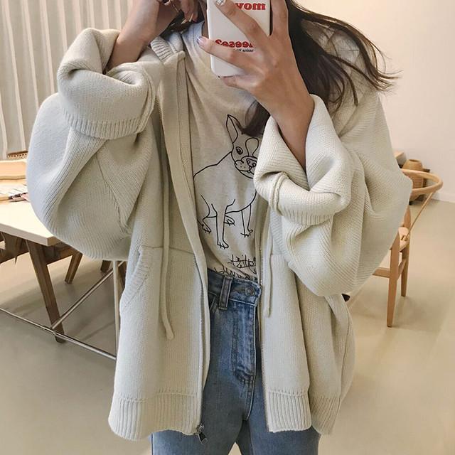 【outer】韓国系長袖着痩せシンプルルーズ合わせやすいフード付きニットジャケット