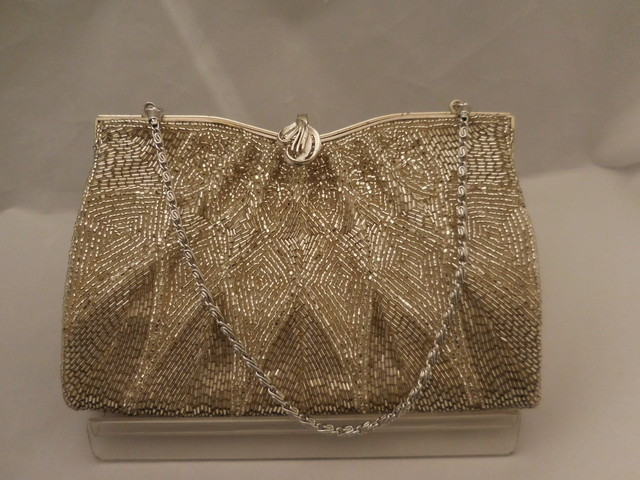 華やか銀ビーズバック silver bead vintage bag (made in Japan)(No8)