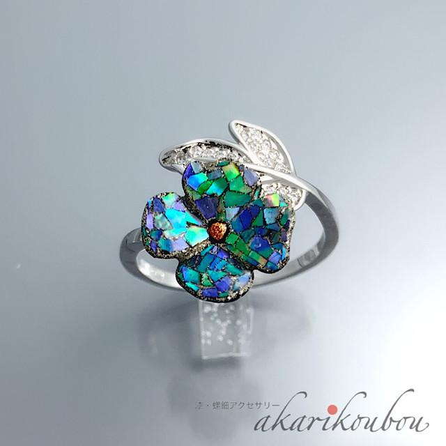 漆 指輪 ブルー 螺鈿 花 フリーサイズリング  漆アクセサリー : Silver925 ロジウム キュービックジルコニア フォークリング レディース 綺麗 螺鈿ジュエリー