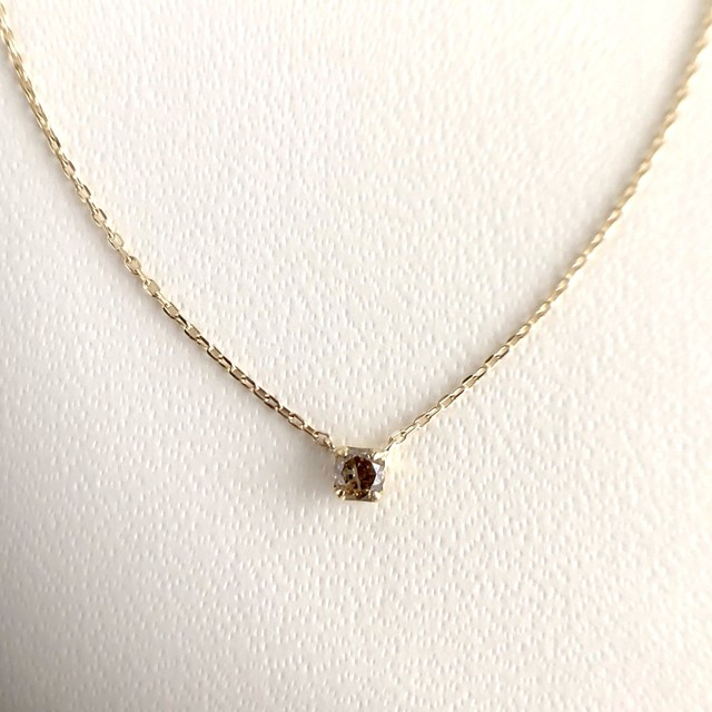 ブラウンダイヤモンド ネックレス 0.08ct K10イエローゴールド  チェカ 鑑別書付
