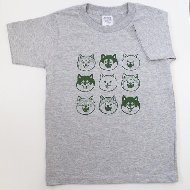 受注製作【キッズサイズ】杢グレー×グリーン 柴ガオTシャツ 5.6oz /対応サイズ 100~160cm