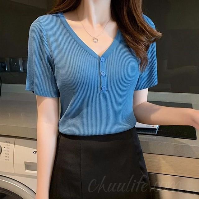 【トップス】韓国系Vネックショート丈ボタンプルオーバーTシャツ42034158