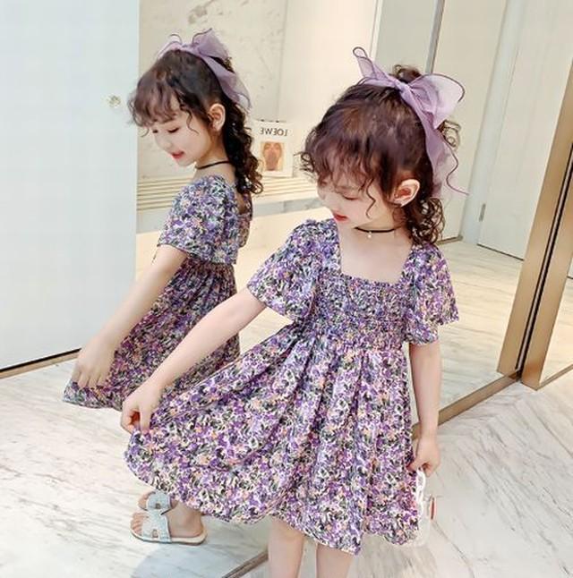 100cm~150cm ★ ワンピース ドレス 花柄 スカート