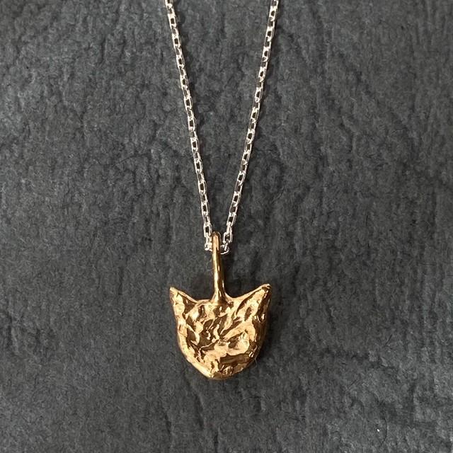 ゴールド&シルバーのコンビネックレス(猫) シルバー&純金メッキ仕立て