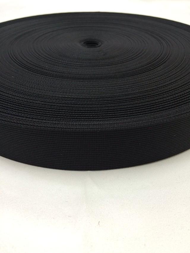 sale リュックのヒモ、ザックのヒモに最適な ナイロンベルト 高密度 30mm幅 1mm厚 黒  1反50m