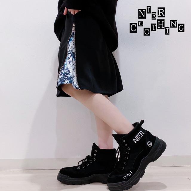 SIDE ZIP HALF PANTS【WHITE CRASH】