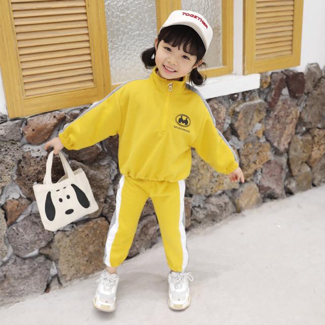 【セット】配色コットン女の子シンプルスボーツ系ハイネック2点セット25724162