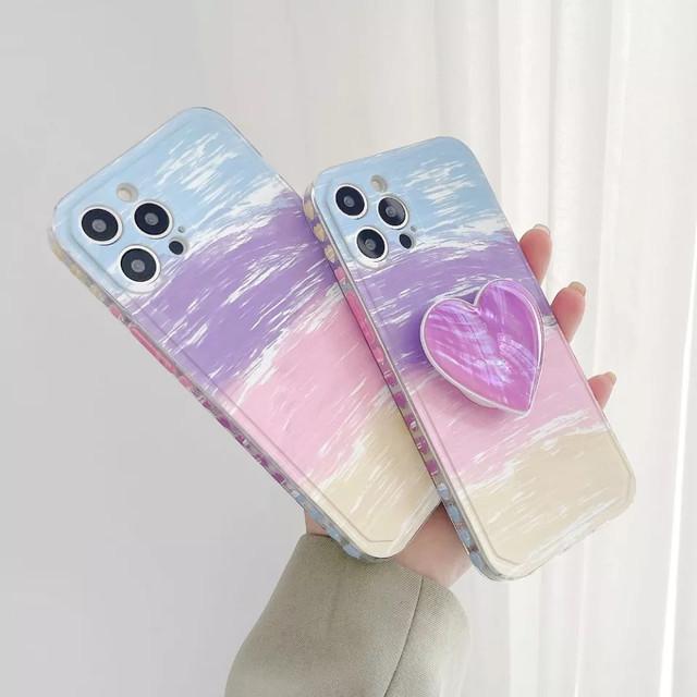 グリップ付♪ Cute purple grip art iphone case