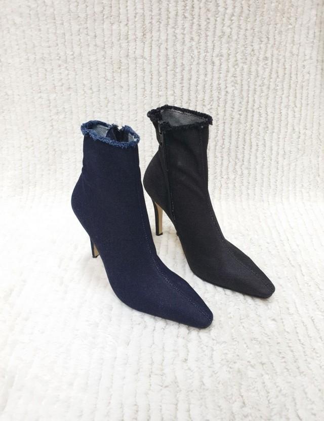 予約注文商品 デニムソックスブーツ デニムブーツ ブーツ ソックスブーツ 韓国ファッション
