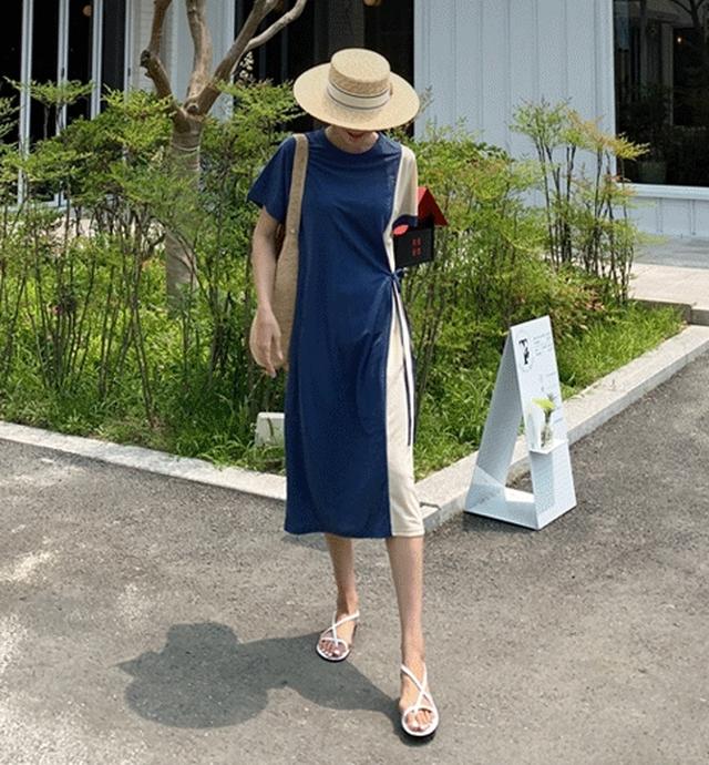 ゆったりリラックス配色デザインワンピース★2020S/S
