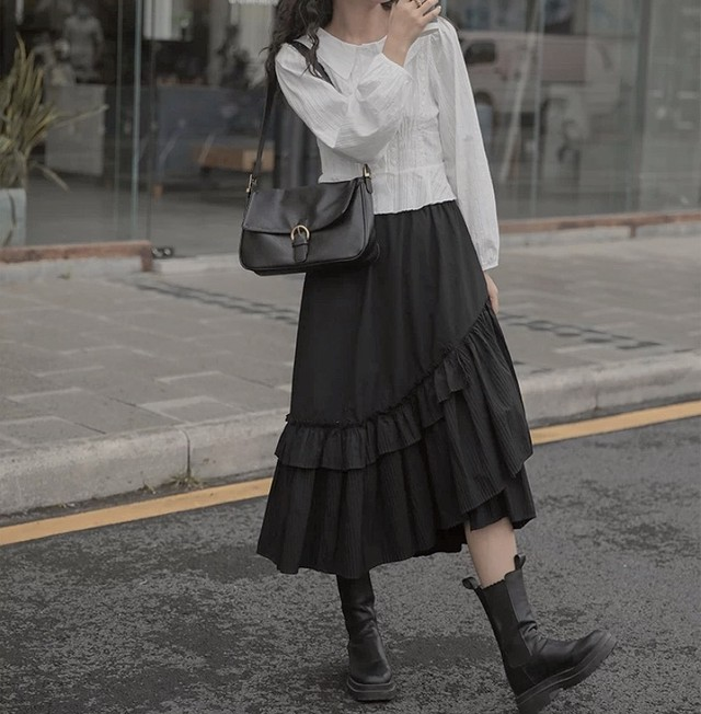 A line frill skirt 2color