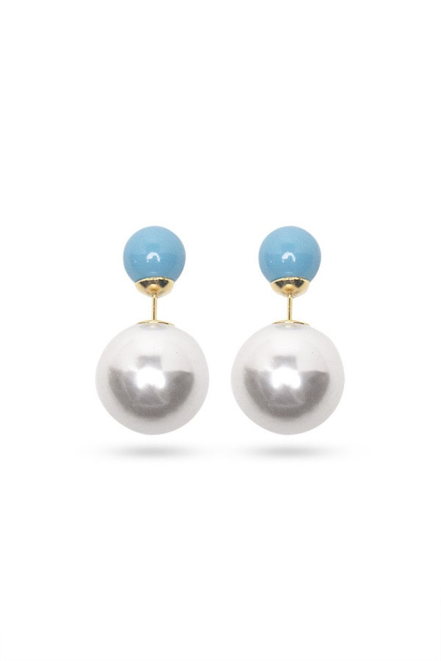 Pearl Catch Earrings | Blue