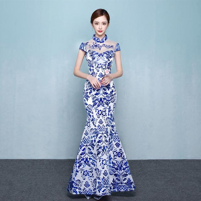 チャイナドレス ワンピース ドレス チャイナ風服 演出服装 イベント 舞台衣装 パーティー スタンドネック ロング丈 マキシ丈 エレガント 着痩せ 上品 大きいサイズ XS S M L LL 3L 4L 染付けシリーズ ブルー 青い マーメイドライン