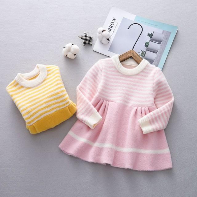 【ボトムス】可愛いファッションボーダー柄ニット生地子供服 女の子 ワンピース24835079