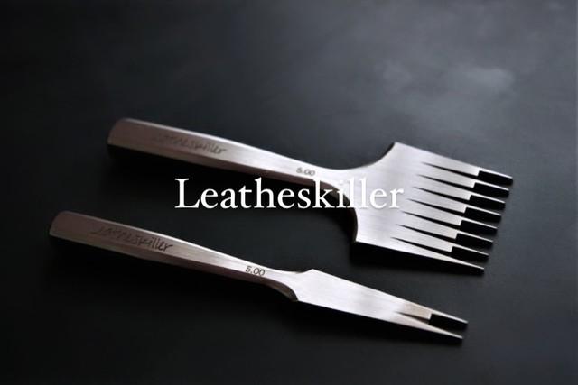 Leatheskiller 4.0/5.0mmヨーロッパ目打ち 2本目と5本目のセット/もちろんポイントガイドmini付き