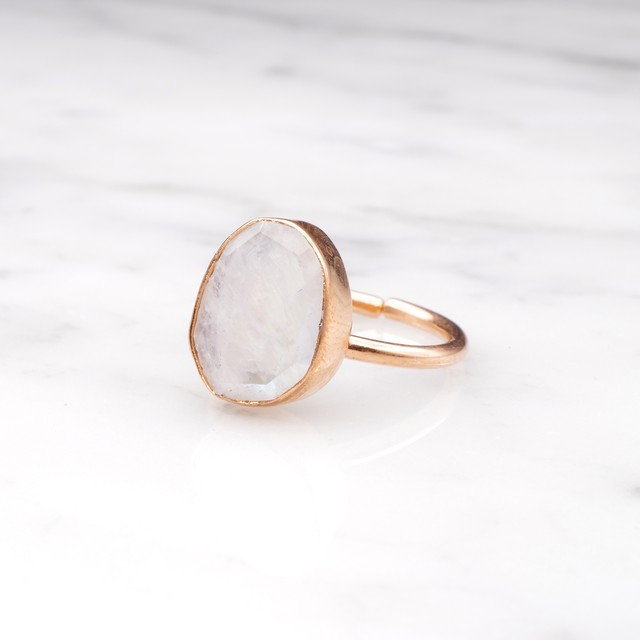 SINGLE BIG STONE RING PINK GOLD 012