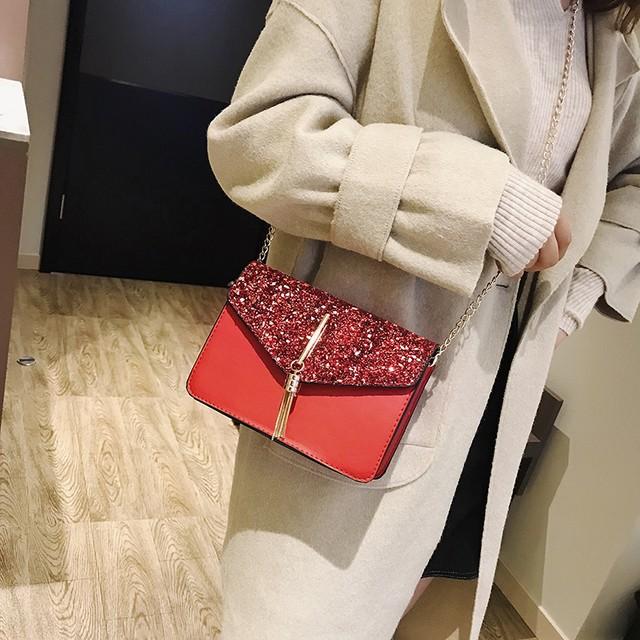【小物】上品な光沢感ファッションスパンコールフリンジ飾りショルダーバッグ