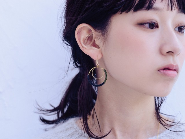 《niruc×KnottWorks》リングピアス/イヤリング・Brass/Double Ring Earrings×3colors