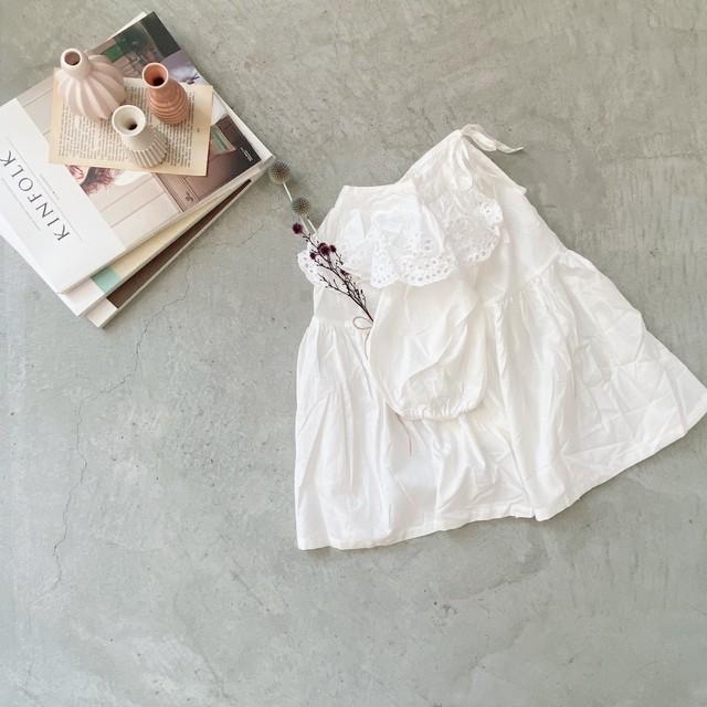 【petitmig-プチミグ】フリルネック ホワイトフレンチワンピース